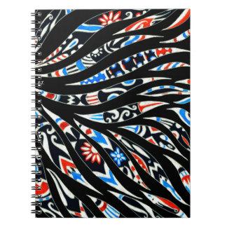 Doodles Scribble Black Pattern Spiral Notebook