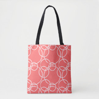 Doodly Circles on Melon Orange Tote Bag