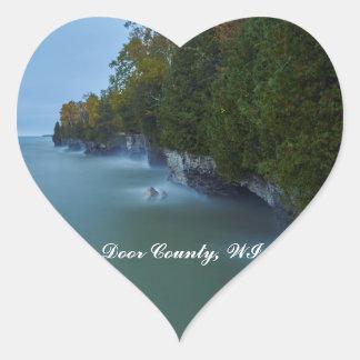 Door County Cave Point Cliffs Heart Sticker