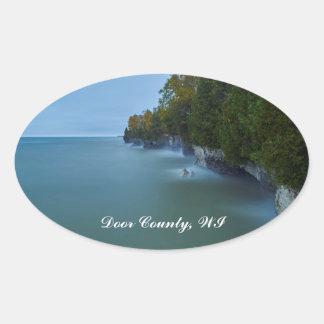 Door County Cave Point Cliffs Oval Sticker