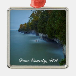 Door County Cave Point Cliffs Silver-Colored Square Ornament