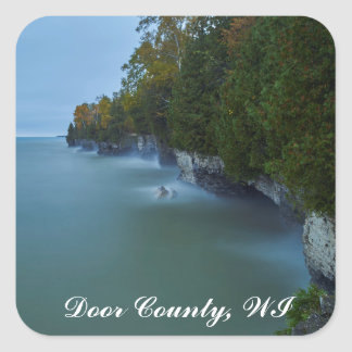 Door County Cave Point Cliffs Square Sticker