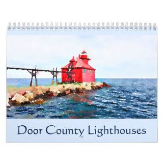 Door County Lighthouses Watercolor Wall Calendars