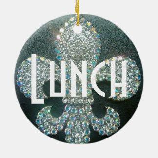 """Door Hanger """"Meeting/Lunch"""" Round Ceramic Ornament"""