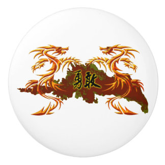 Door knob two dragons Chinese inscription – brave
