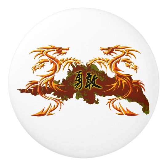 Door knob two dragons Chinese inscription – brave Ceramic Knob
