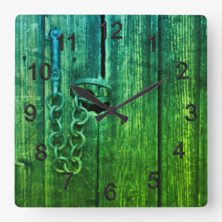 Door lock square wall clock