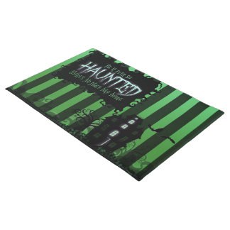 Door Mat - 'Be it ever so Haunted' Green