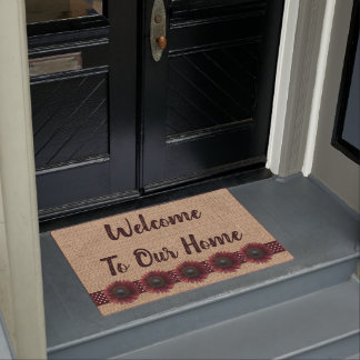 Door Mat - Burlap and Bordeaux Sunflowers