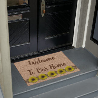 Door Mat - Burlap and Rain-Drenched Sunflowers