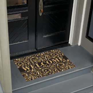 Door Mat - Drama in Black and Gold