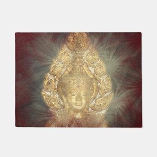 door mat golden buddha in dark red