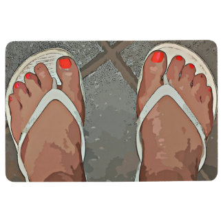 "Door Mat ""Orange Toes Flip Flop"""