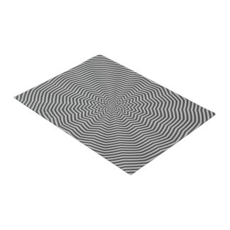 Door Mat  Star Ripples in Black and White