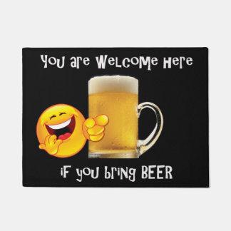 Door mat with beer cup