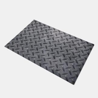 Door Mat with dark gray grunge industrial metal