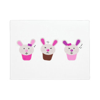Door mat with Little cute bunnies