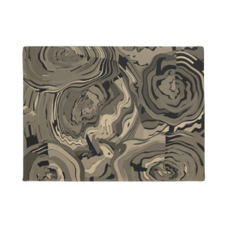 Door Mats Modern Art Floral Brown & Black