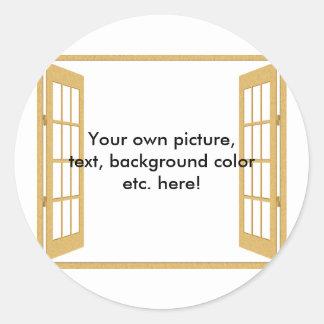 Door/Window to/from Anywhere Round Sticker