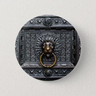 Doorknocker Lion - Black / Gold 2 Inch Round Button