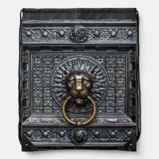 Doorknocker Lion - Black / Gold Drawstring Bag