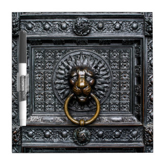 Doorknocker Lion - Black / Gold Dry Erase Board