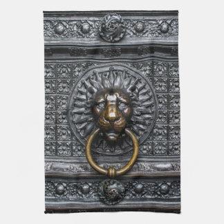 Doorknocker Lion - Black / Gold Kitchen Towel