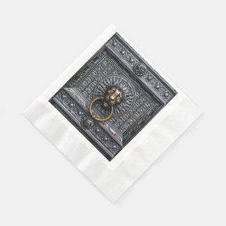 Doorknocker Lion - Black / Gold Paper Napkin