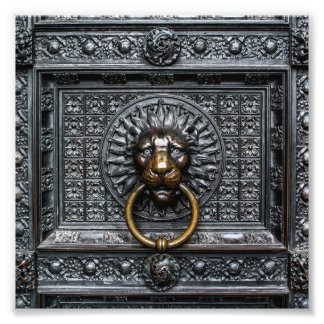 Doorknocker Lion - Black / Gold Photo Print