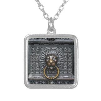 Doorknocker Lion - Black / Gold Silver Plated Necklace