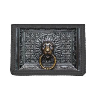Doorknocker Lion - Black / Gold Tri-fold Wallet