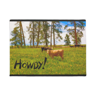 """Doormat """"Howdy!"""" Featuring Cows in a Field"""