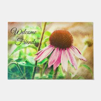 """Doormat """"Welcome Friends"""" with Flower"""