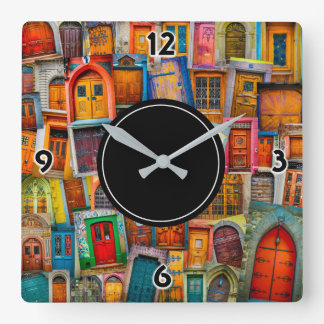 Doors of the World Colorful Square Wall Clock