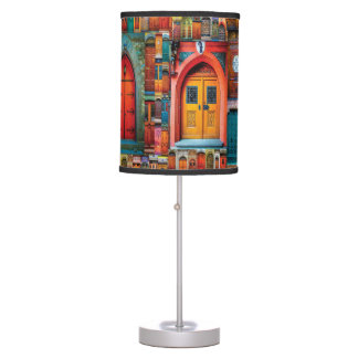 Doors of The World Unique Colorful Photo Collage Table Lamp