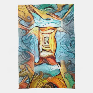Doorway to beyond, abstract expression dreamscape kitchen towel