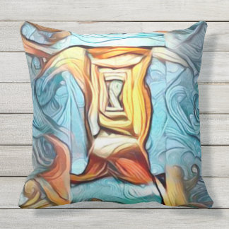 Doorway to beyond, abstract expression dreamscape throw pillow