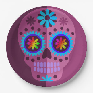 Doouble Purple Sugar Skull With Blue Paper Plate