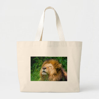 Dope Lion in the grass Large Tote Bag