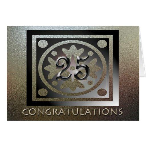 D'or élégant de 25ème anniversaire des employés cartes