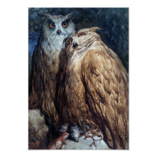 DORE-TWO OWLS-PRINT POSTER