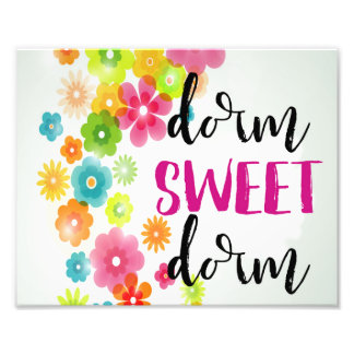 Dorm Sweet Dorm Watercolor Floral Art Print