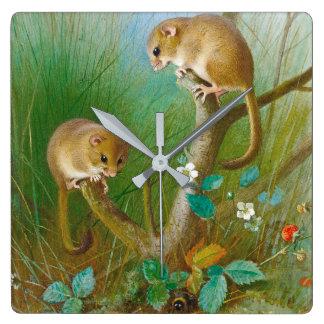 Dormice Mice Meadow Animals Wildlife Wall Clock