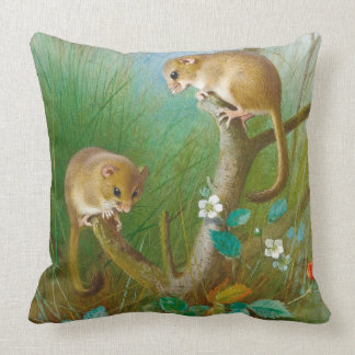 Dormice Mice Wildlife Animals Meadow Throw Pillow