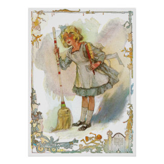 Dorothy Does Housework Vintage Oz Poster