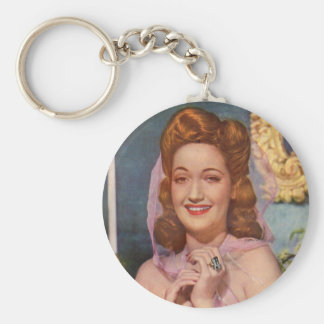 Dorothy Lamour 1940s star of the 'Road' pictures Basic Round Button Keychain