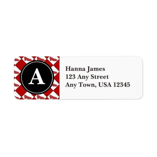 Dorothy Ruby Slippers Pattern Monogram Return Address Label