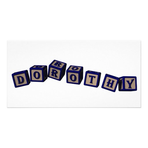 Dorothy toy blocks in blue photo card template