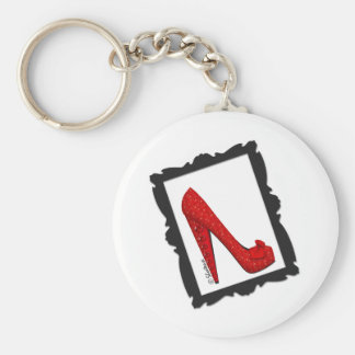 Dorothy's Framed Ruby Red Heels Basic Round Button Keychain