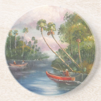 Dorsal Fishing Post - Fish Camp St. Lucie River Beverage Coasters